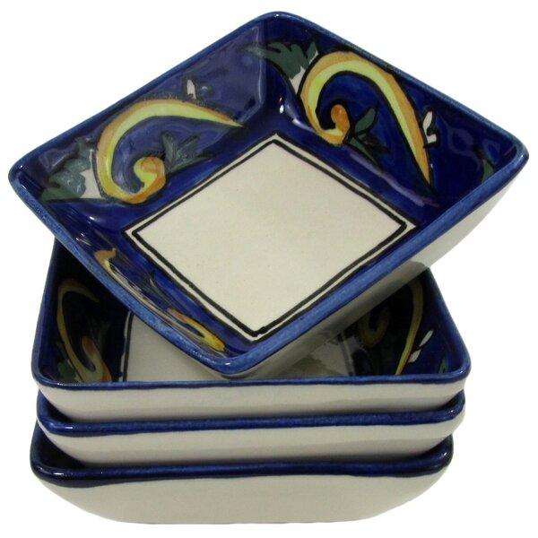 Riya Stoneware Square Sauce Dish (Set of 4) by Le Souk Ceramique