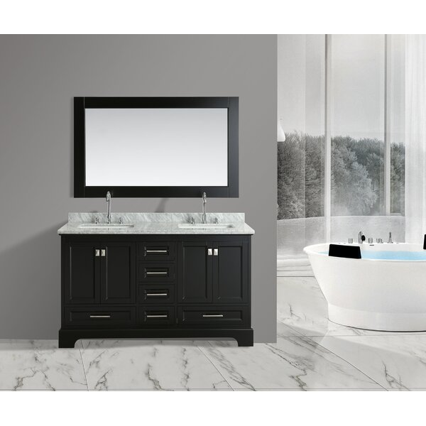 Saugatuck 61 Double Bathroom Vanity Set with Mirror by Orren Ellis