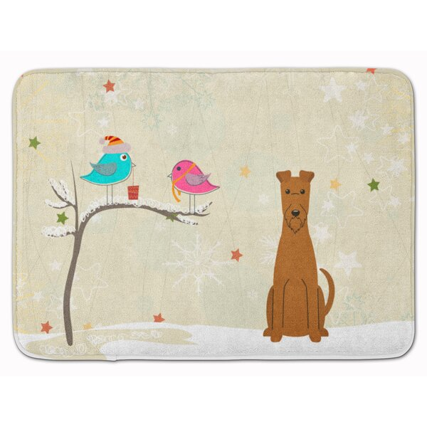 Christmas Presents Friend Irish Terrier Memory Foam Bath Rug by The Holiday Aisle