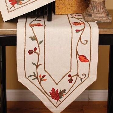 Harvest Vine Crewel Embroidered Harvest Table Runner by Xia Home Fashions