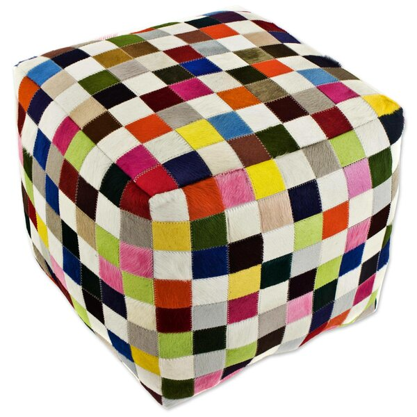 Carnaval Chess Cube Cowhide Box Cushion Ottoman Slipcover by World Menagerie