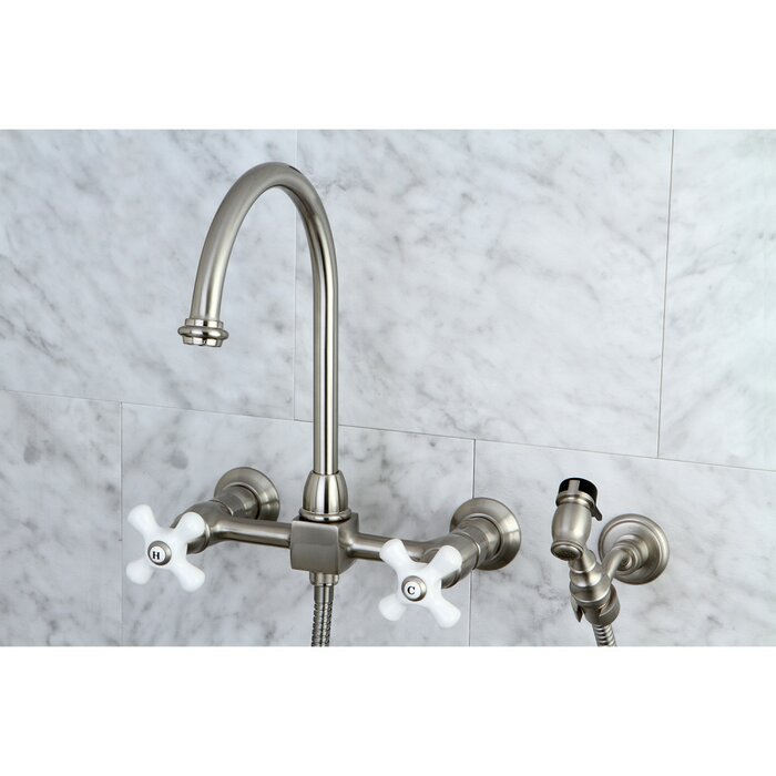 Restoration Wall Mounted Double Handle Kitchen Faucet with Side Spray