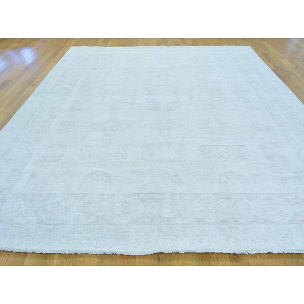 One-of-a-Kind Bearer Washed Out Hand-Knotted Ivory Wool Area Rug by Isabelline