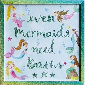 'Mermaid World' Framed Textual Art on Glass by Harriet Bee