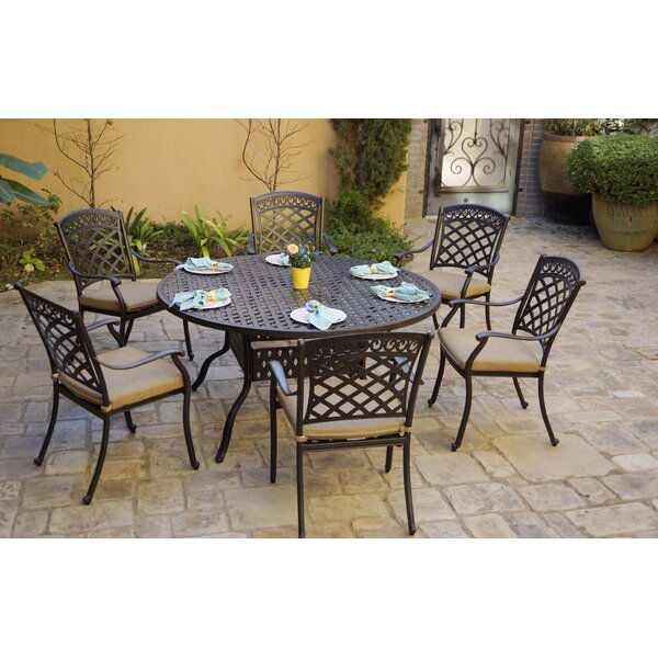 Gahanna 7 Piece Dining Set with Cushions by Fleur De Lis Living