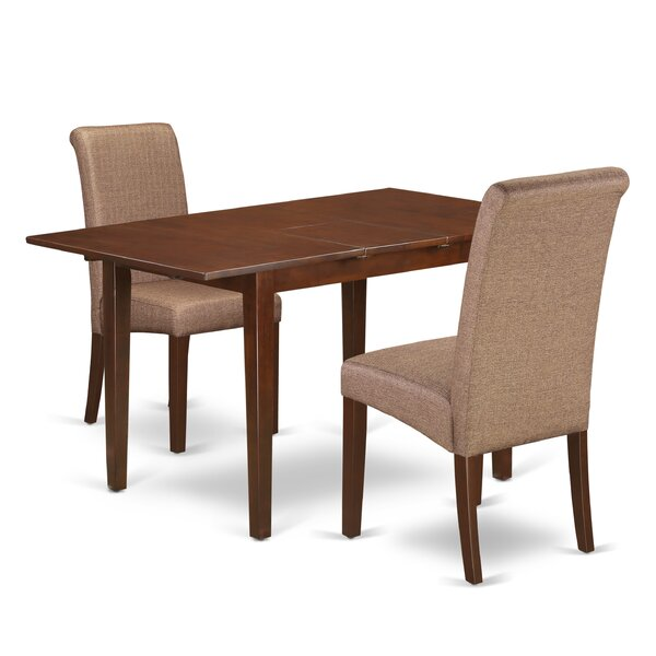 Carlie Kitchen Table 3 Piece Extendable Solid Wood Breakfast Nook Dining Set by Winston Porter