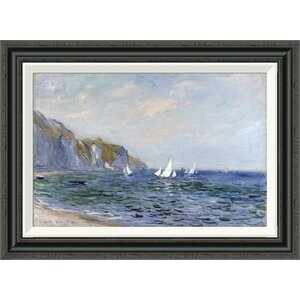 'Cliffs and Sailboats at Pourville' by Claude Monet Framed Painting Print by Global Gallery