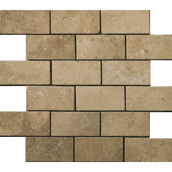Travertine 2 x 4/12 x 12 Offset Mosaic Tile in Ancient Tumbled Mocha by Emser Tile