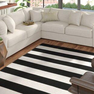 Currin Handwoven Flatweave Black Indoor/Outdoor Area Rug by Ebern Designs