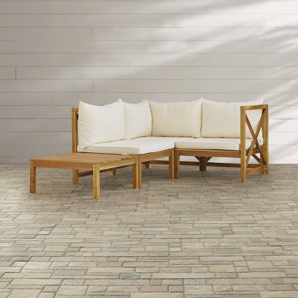 Sanibel 4 Piece Sectional Set with Cushions by Beachcrest Home