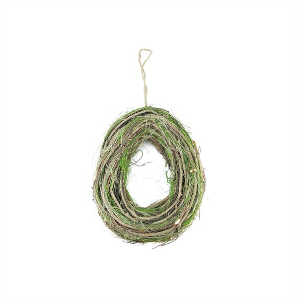 Grapevine, Twig and Moss Egg-Shaped Artificial Spring Wreath by Northlight Seasonal
