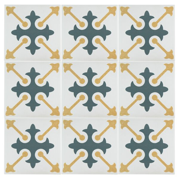 Revive 7.75 x 7.75 Ceramic Field Tile in Blue/Yellow by EliteTile