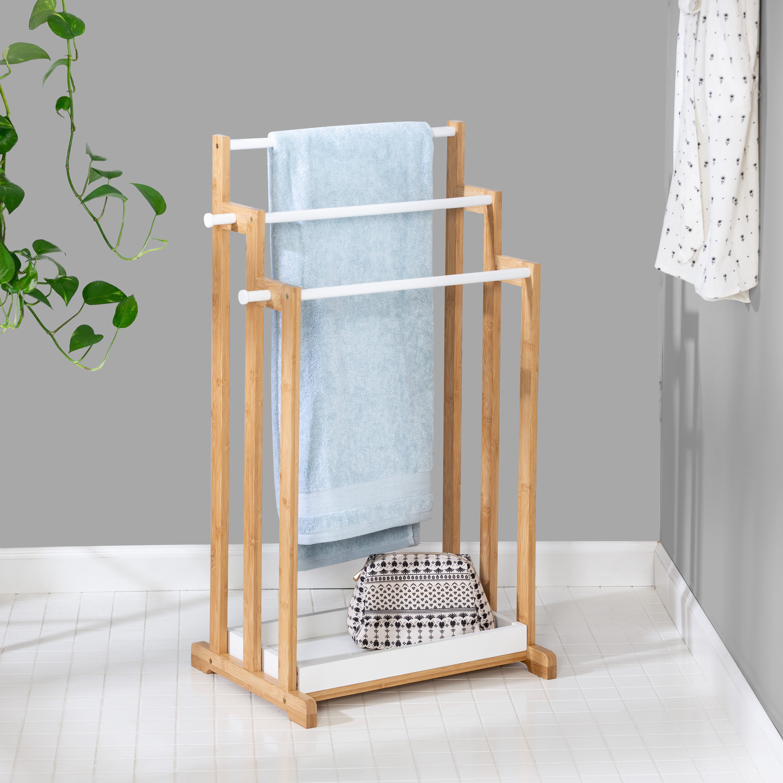Bamboo Bath Free Standing Towel Rack