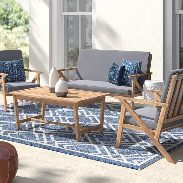 Morley 4 Piece Teak Sofa Seating Group with Cushions by Mistana