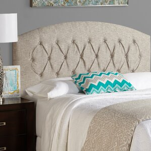 Sherburne Curved Ash Grey Upholstered Headboard by Three Posts