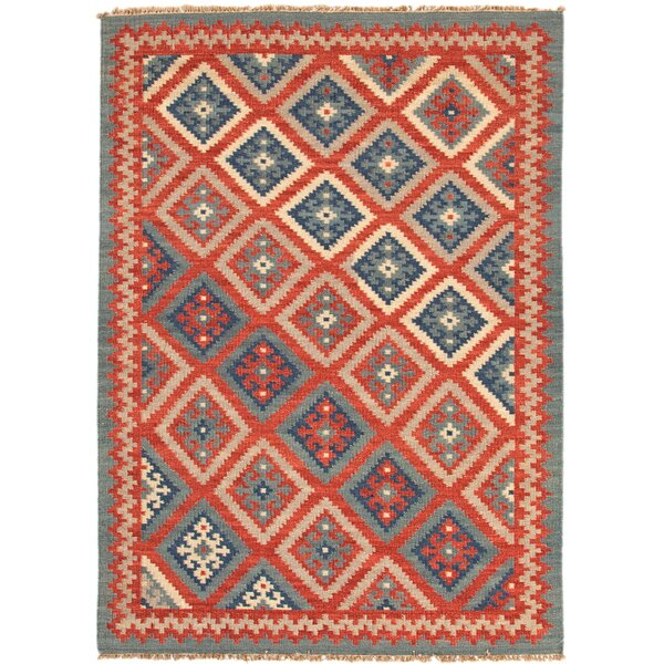 Rubina Burnt Brick/Medium Blue Tribal Area Rug by Bloomsbury Market