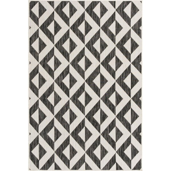 Georgeanna Geometric Black/White Indoor/Outdoor Area Rug