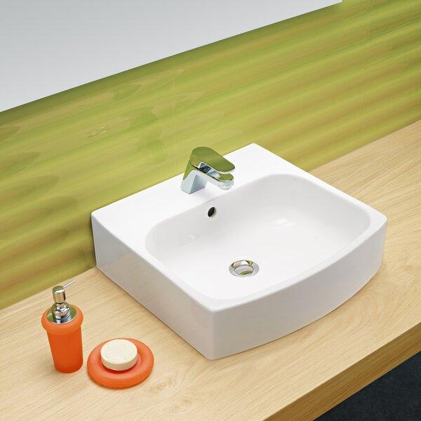 Universal Ceramic Rectangular Vessel Bathroom Sink with Overflow by Bissonnet