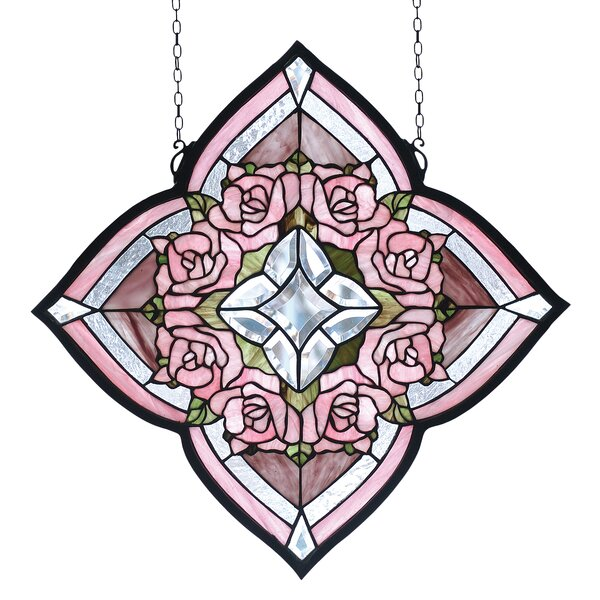 Victorian Ring of Roses Stained Glass Window by Meyda Tiffany