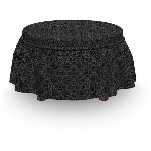 Venetian Baroque 2 Piece Box Cushion Ottoman Slipcover Set By East Urban Home