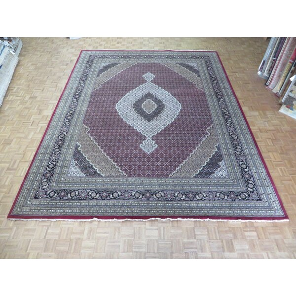 One-of-a-Kind Raiden Hand-Knotted Wool Red/Black Area Rug by Astoria Grand