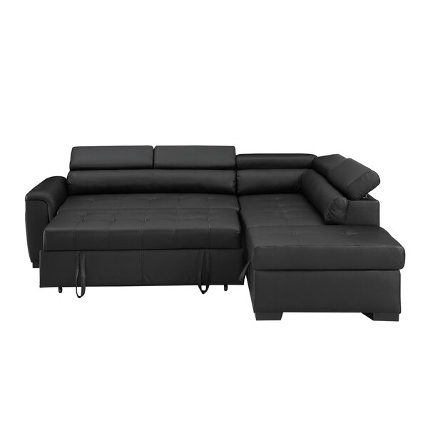 Kegan Leather Right Hand Facing Sleeper Sectional With Storage Ottoman By Ebern Designs