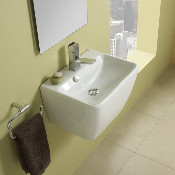 Emma Ceramic 18 Wall Mount Bathroom Sink with Overflow by Bissonnet
