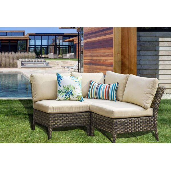 Southall Outdoor 3 Piece Rattan Sectional Seating Group with Cushions by Highland Dunes