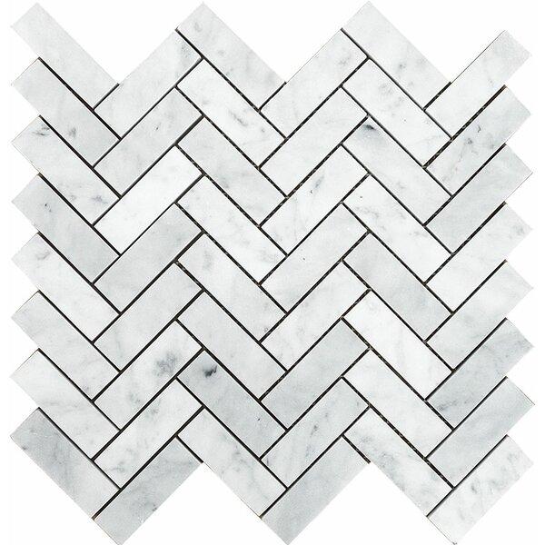 Carrara Grande Herringbone 1 x 3 Stone Mosaic Tile by Parvatile