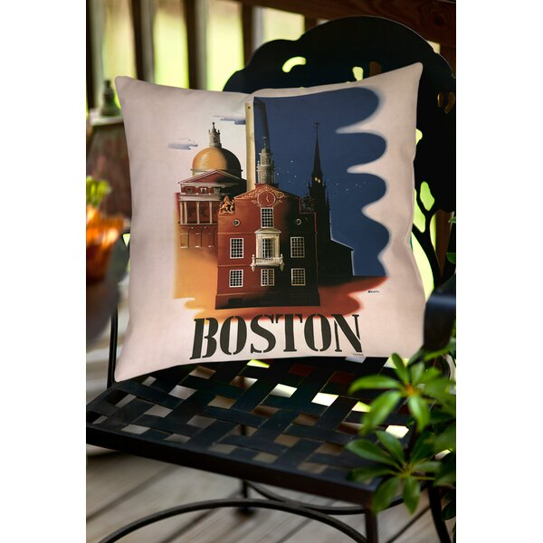 Boston Architecture Indoor/Outdoor Throw Pillow by Manual Woodworkers & Weavers