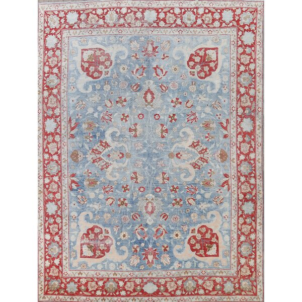 One-of-a-Kind Adiella Hand-Knotted Tabriz Light Blue/Red/Ivory 8'11 x 12' Wool Area Rug
