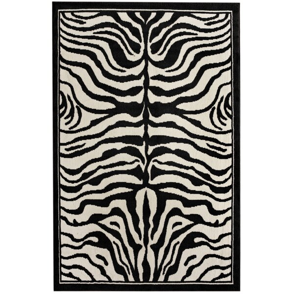 Zebra Print Black/White Area Rug by nuLOOM
