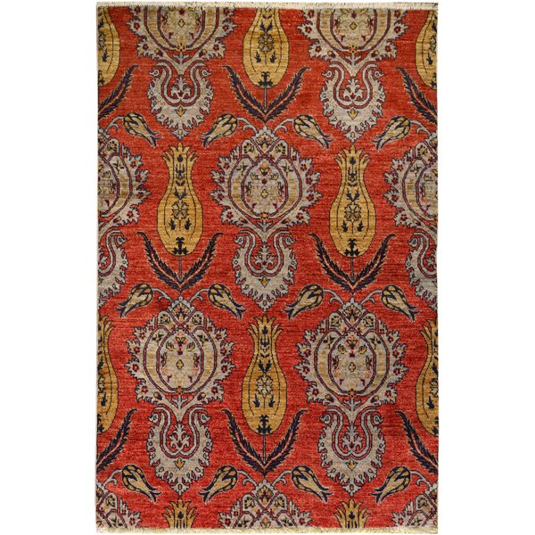 One-of-a-Kind Palmquist Hand-Knotted Wool Orange/Blue Area Rug by Bloomsbury Market