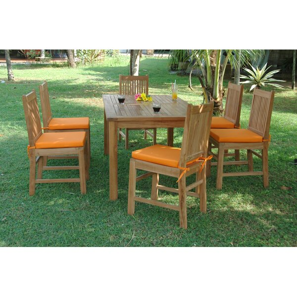 Bourque 7 Piece Teak Dining Set by Freeport Park