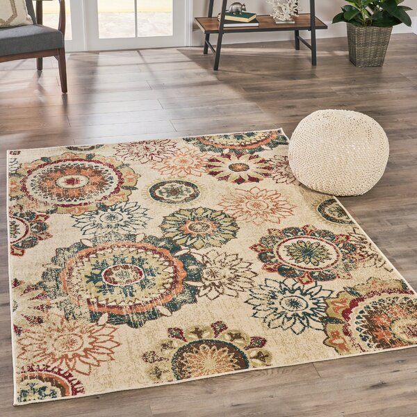 Canterbury Floral Beige Area Rug by Bungalow Rose