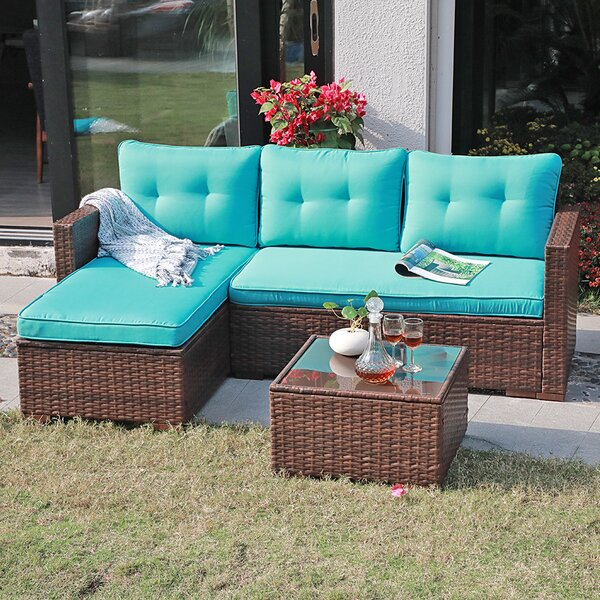 Cromford 3 Piece Rattan Sectional Seating Group with Cushions by Ebern Designs