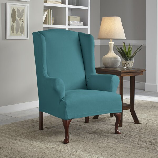 Sales Serta® Stretch Fit Box Cushion Wingback Slipcover