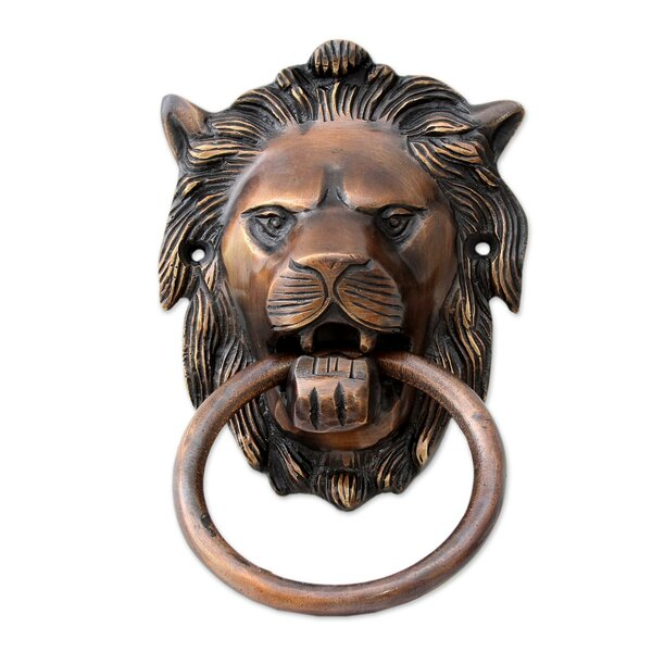 Lion Arrival Brass Door Knocker by Novica