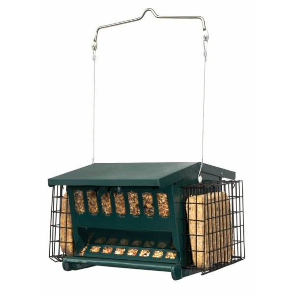 Mini Seeds-N-More Hopper Bird Feeder with Suet Holder by Heritage Farms
