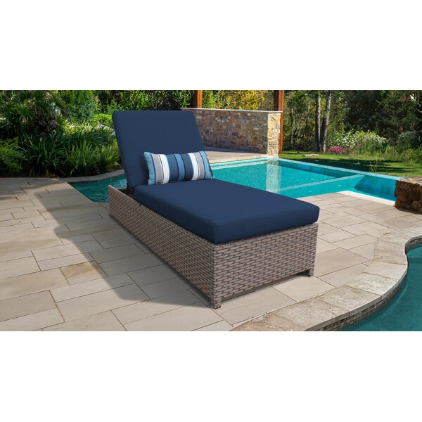 Rochford Wheeled Outdoor Wicker Reclining Chaise Lounge with Cushion