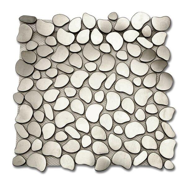 Corrie Random Sized Metal Mosaic Tile in Brushed Silver by Splashback Tile