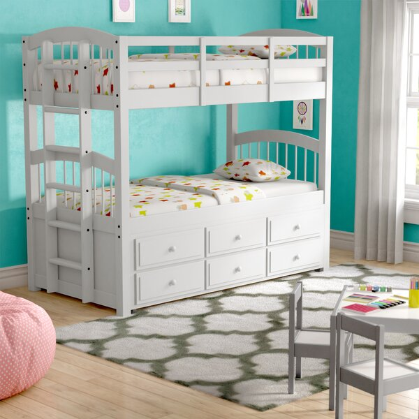 Octavius Twin Bunk Bed with Trundle and Drawers by Harriet Bee
