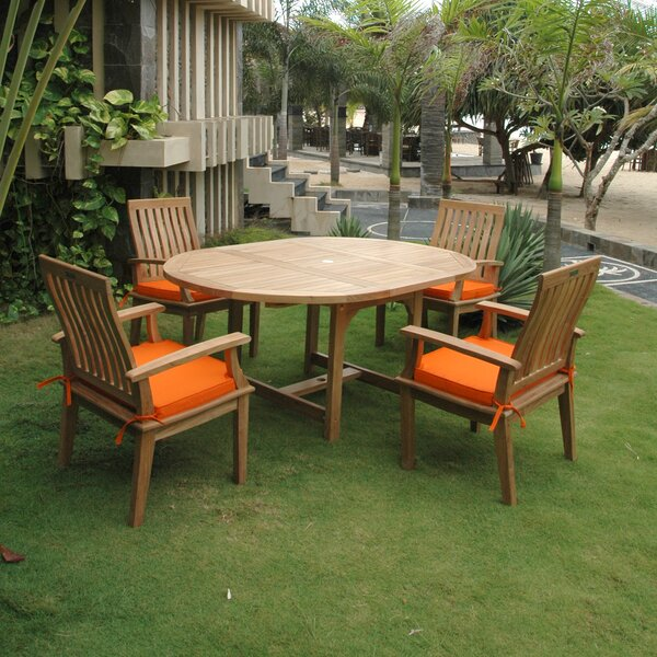 Arnott 5 Piece Teak Dining Set Bayou Breeze BBZE3194