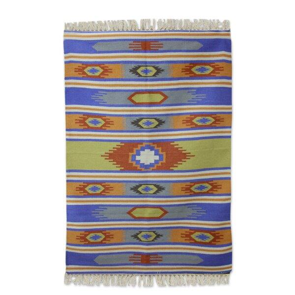 Muhammad Dhurrie Holi Delhi Hand-Woven Wool Orange/Blue Area Rug by Loon Peak
