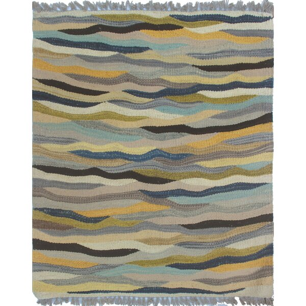 Troy Kilim Hand Woven Wool Gray Area Rug by Bloomsbury Market