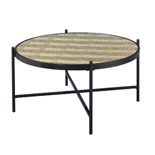 Cheriton Contemporary Faux Alligator Leather Skin Living Room Coffee Table