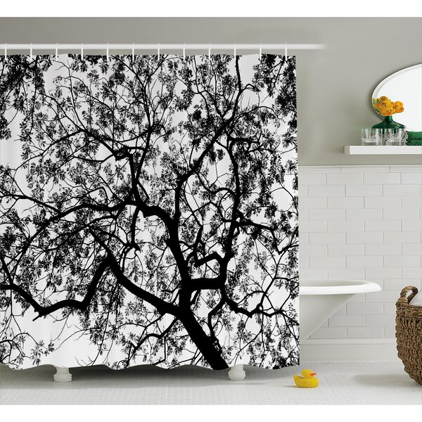 Jacquelyn Forest Tree Branches Modern Decor Spooky Horror Movie Themed Print Shower Curtain by Ebern Designs