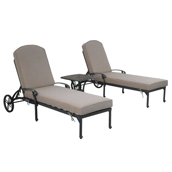 Hesston Sun Lounger Set with Cushion and Table by Charlton Home Charlton Home