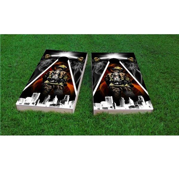 Firefighter City Scape Cornhole Game Set by Custom Cornhole Boards