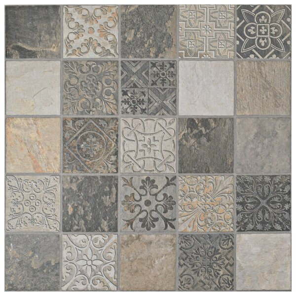 Deco Maximiliano 17.5 x 17.5 Porcelain Field Tile in Gray/Brown by EliteTile